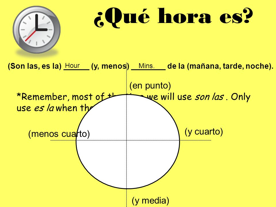¿Qué hora es? (Son las, es la) ______ (y, menos) ________ de la (mañana, tarde, noche). Hour Mins. *Remember, most of the time we will use son las. On