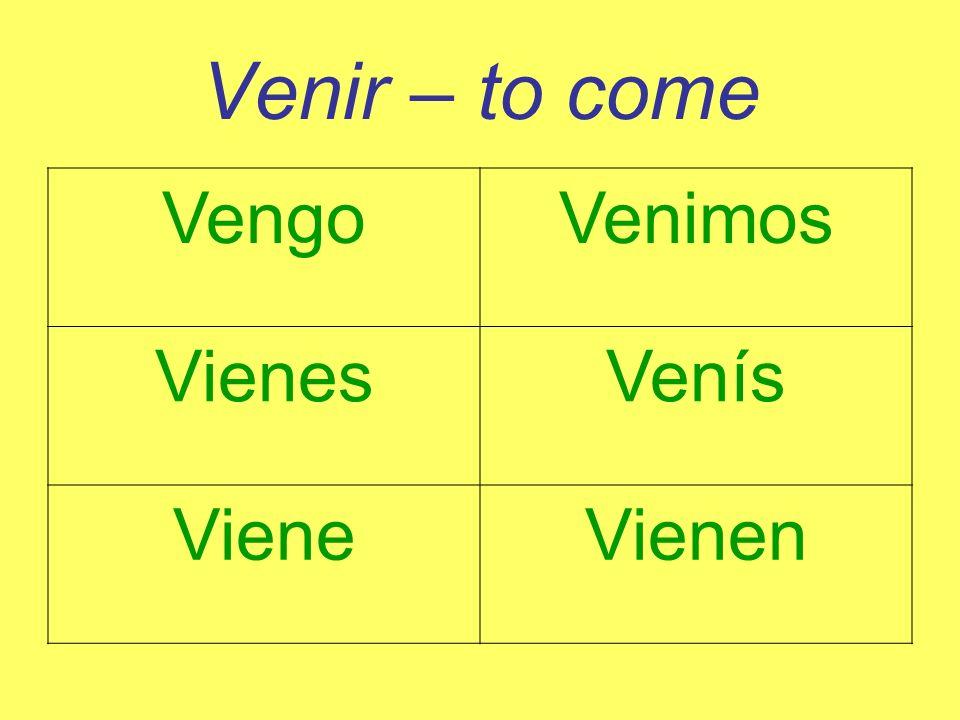 Venir – to come VengoVenimos VienesVenís VieneVienen