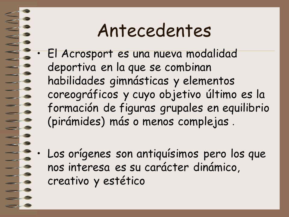 Antecedentes El Acrosport es una nueva modalidad deportiva en la que se combinan habilidades gimnásticas y elementos coreográficos y cuyo objetivo últ