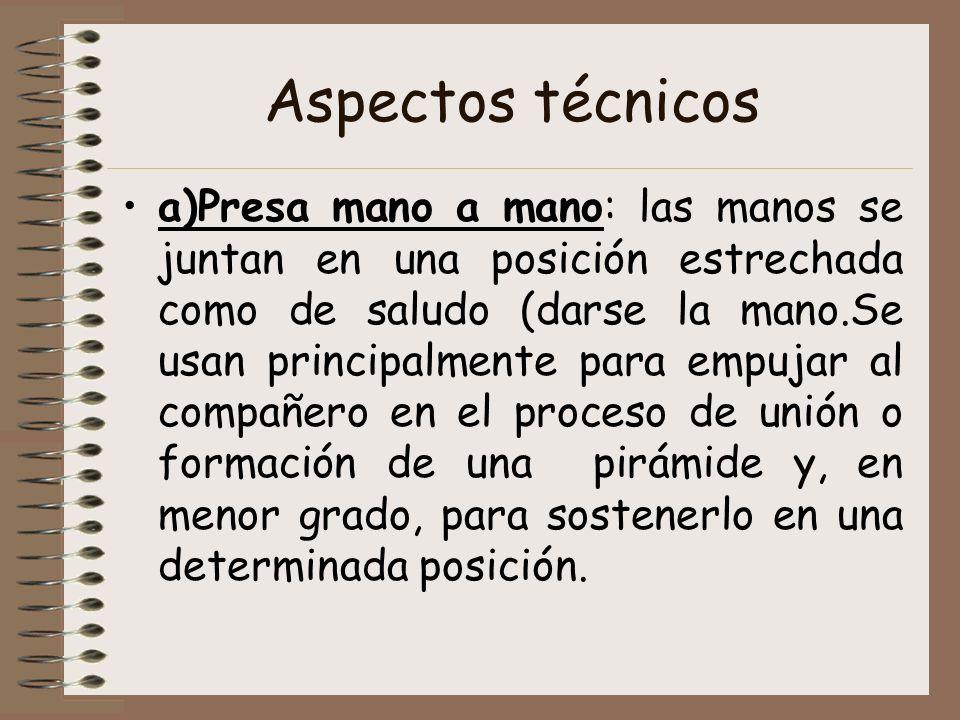 Aspectos técnicos Presa de pinza: Se utiliza principalmente para sostener las figuras o 0posiciones adoptadas y, en menor grado, para lanzar o empujar al compañero.
