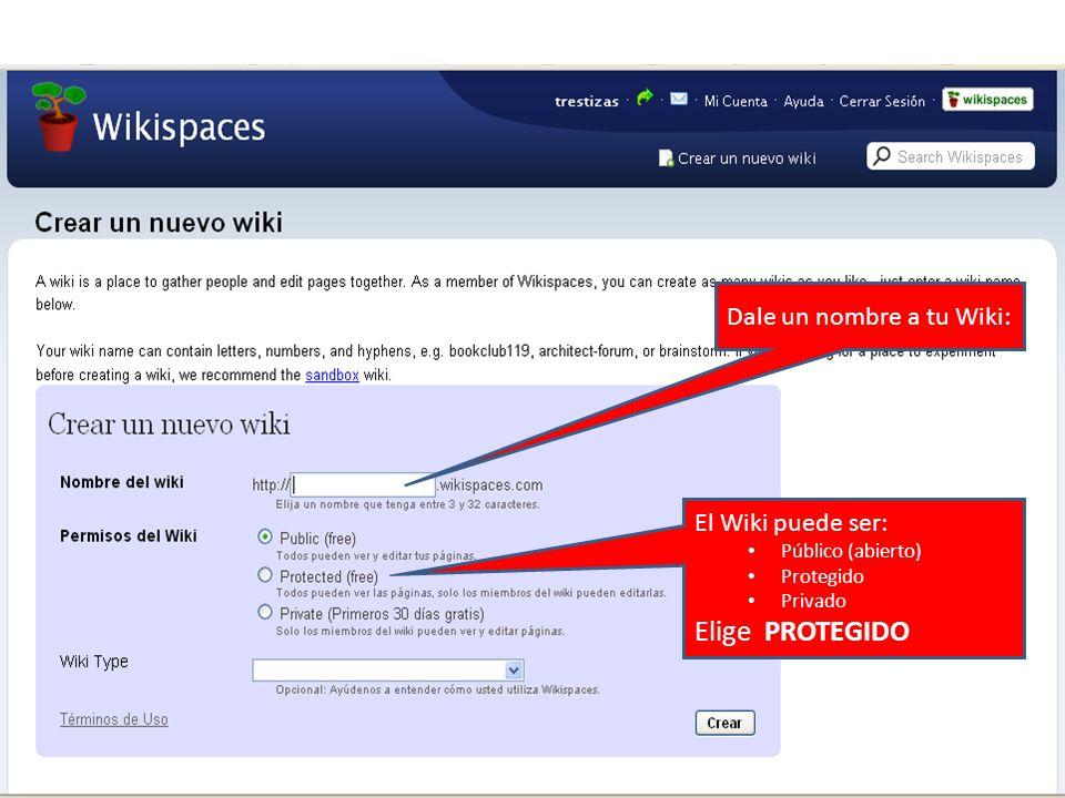 Dale un nombre a tu Wiki: El Wiki puede ser: Público (abierto) Protegido Privado Elige PROTEGIDO