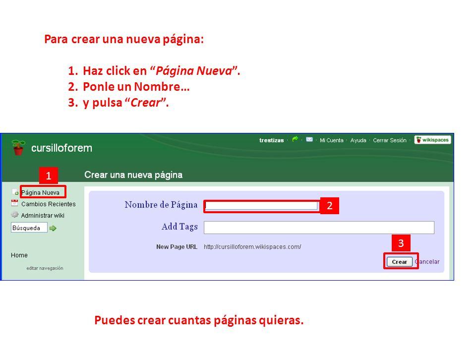 Para crear una nueva página: 1.Haz click en Página Nueva.