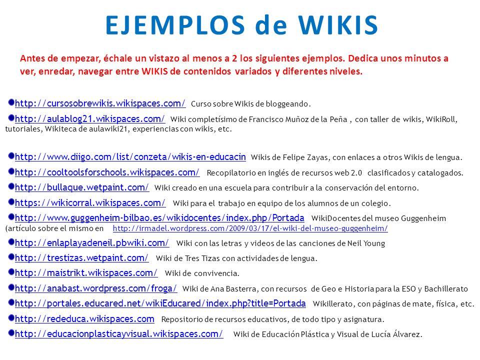 EJEMPLOS de WIKIS Antes de empezar, échale un vistazo al menos a 2 los siguientes ejemplos.
