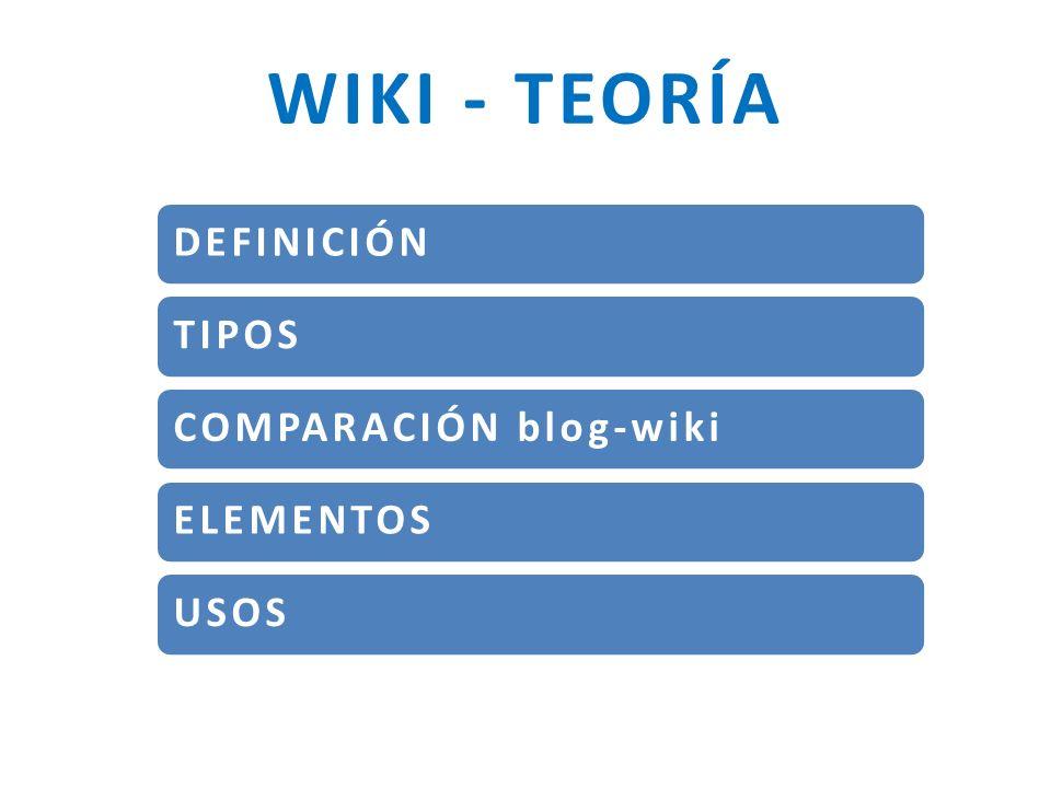 DEFINICIÓN Servicio o sitio Web donde los usuarios (de uno a muchos) pueden CREAR, MODIFICAR-EDITAR y BORRAR las páginas wiki y sus contenidos de una forma fácil y rápida (wiki wiki en hawaiano significa rápido).