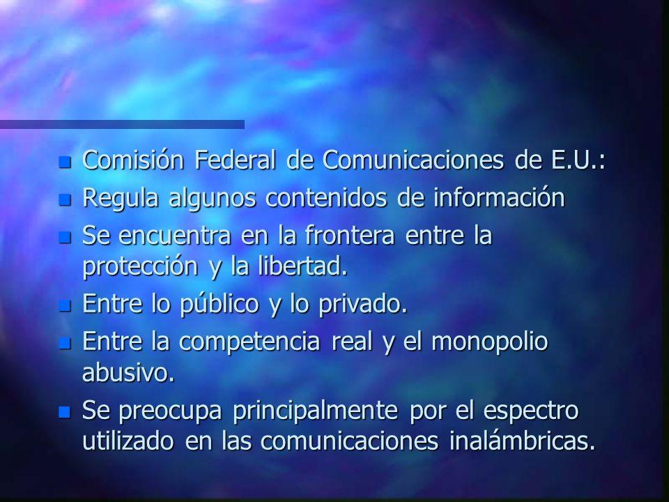 IV. La policía de los Bits El permiso para emitir bits n Los entretenimientos tienen 5 vías de ingreso al hogar: n a) Por satélite; b) Emisión; c)Terr