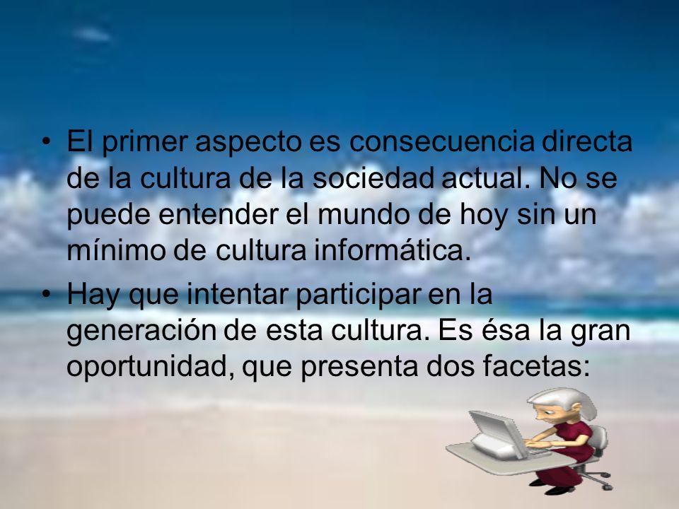 El primer aspecto es consecuencia directa de la cultura de la sociedad actual. No se puede entender el mundo de hoy sin un mínimo de cultura informáti
