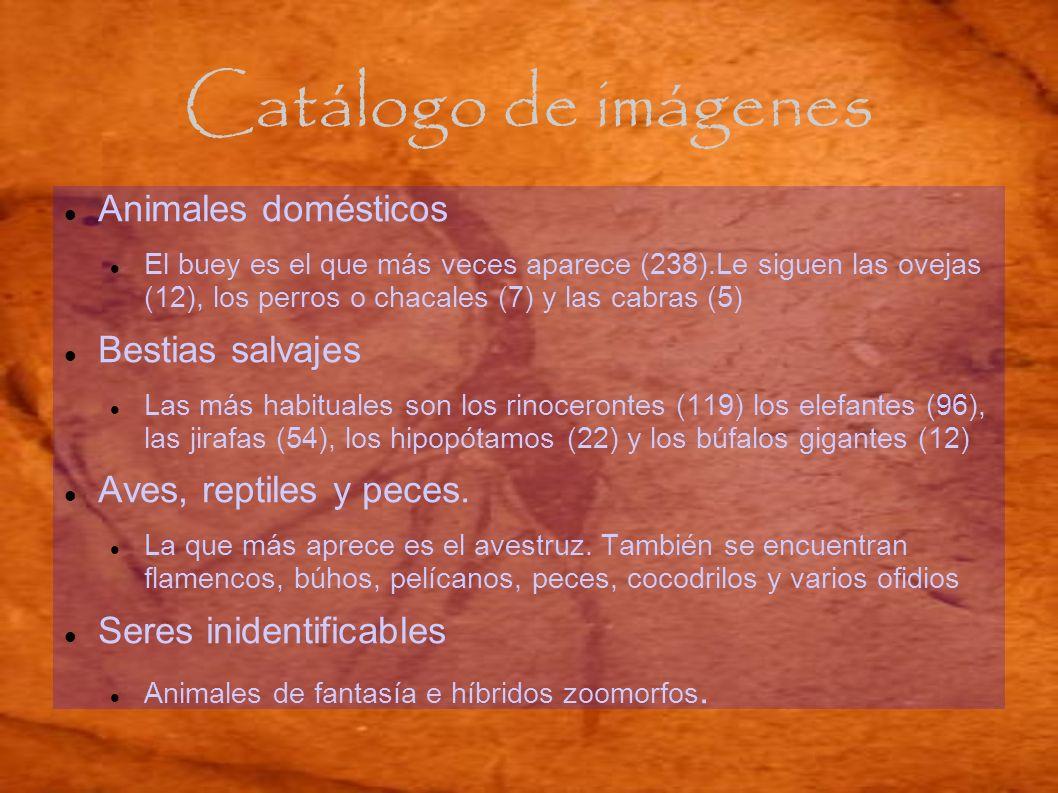 Catálogo de imágenes Animales domésticos El buey es el que más veces aparece (238).Le siguen las ovejas (12), los perros o chacales (7) y las cabras (