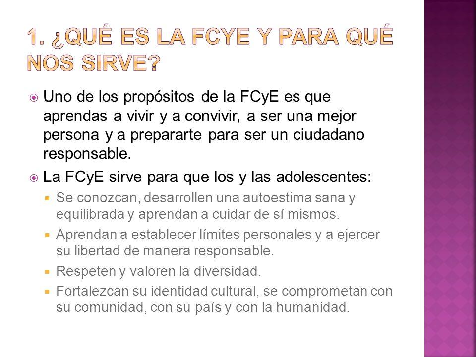 Uno de los propósitos de la FCyE es que aprendas a vivir y a convivir, a ser una mejor persona y a prepararte para ser un ciudadano responsable. La FC