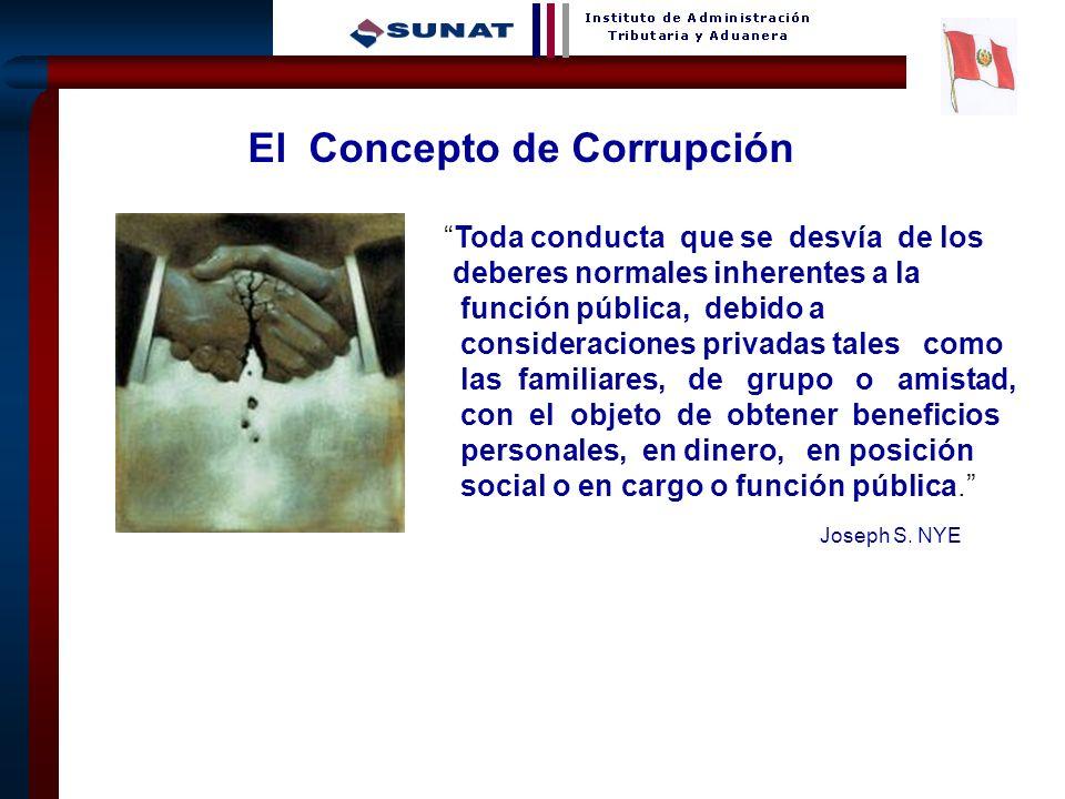 4 El Concepto de Corrupción Toda conducta que se desvía de los deberes normales inherentes a la función pública, debido a consideraciones privadas tal