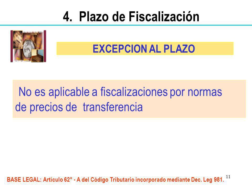 11 No es aplicable a fiscalizaciones por normas de precios de transferencia EXCEPCION AL PLAZO BASE LEGAL: Artículo 62° - A del Código Tributario inco