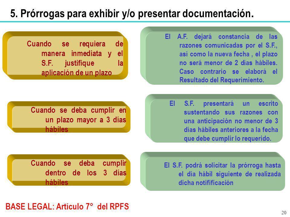 5. Prórrogas para exhibir y/o presentar documentación. BASE LEGAL: Artículo 7° del RPFS Cuando se requiera de manera inmediata y el S.F. justifique la