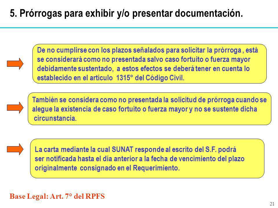 Base Legal: Art. 7° del RPFS De no cumplirse con los plazos señalados para solicitar la prórroga, está se considerará como no presentada salvo caso fo