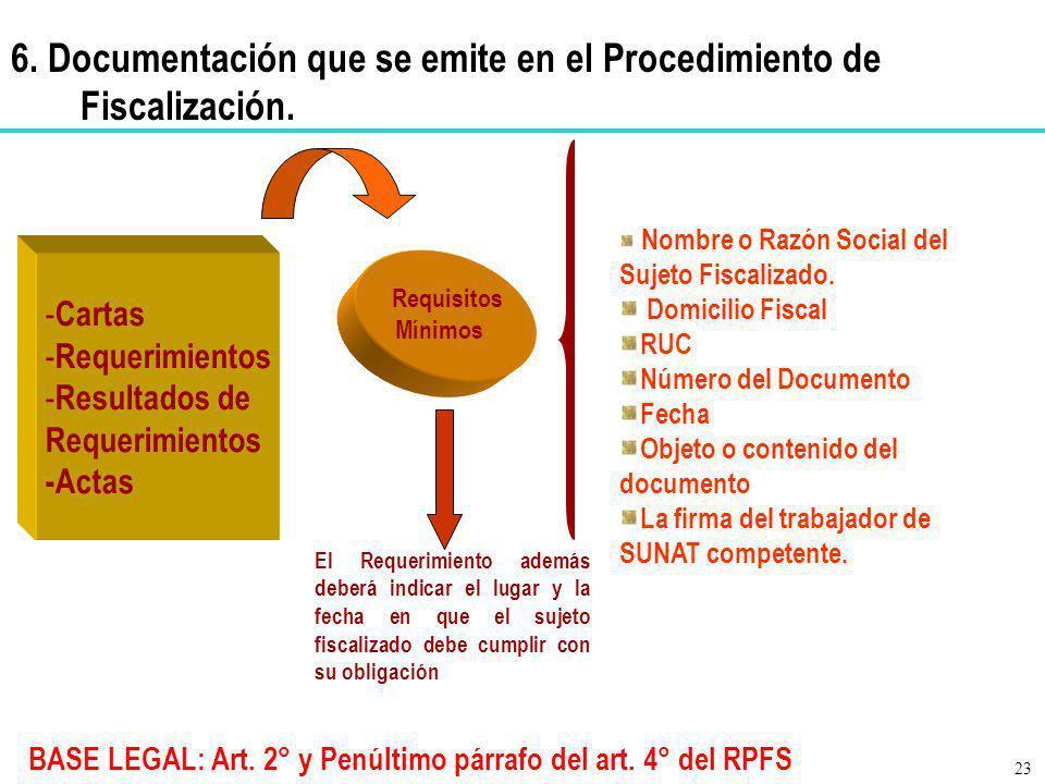 BASE LEGAL: Art. 2° y Penúltimo párrafo del art. 4° del RPFS - Cartas - Requerimientos - Resultados de Requerimientos -Actas Requisitos Mínimos Nombre