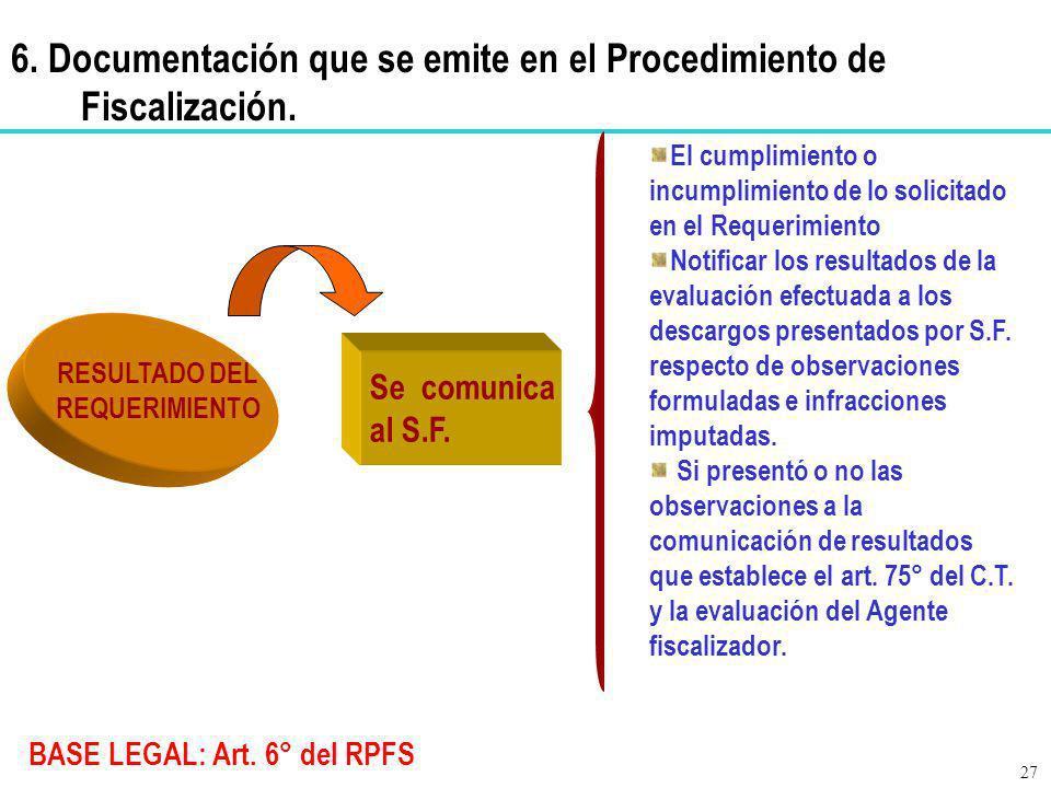 BASE LEGAL: Art. 6° del RPFS RESULTADO DEL REQUERIMIENTO El cumplimiento o incumplimiento de lo solicitado en el Requerimiento Notificar los resultado