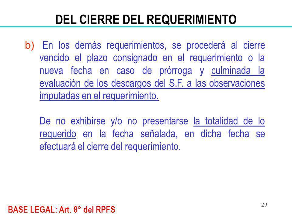 29 DEL CIERRE DEL REQUERIMIENTO b) En los demás requerimientos, se procederá al cierre vencido el plazo consignado en el requerimiento o la nueva fech