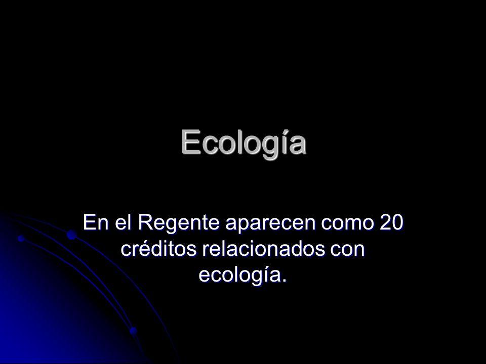 Ecología En el Regente aparecen como 20 créditos relacionados con ecología.