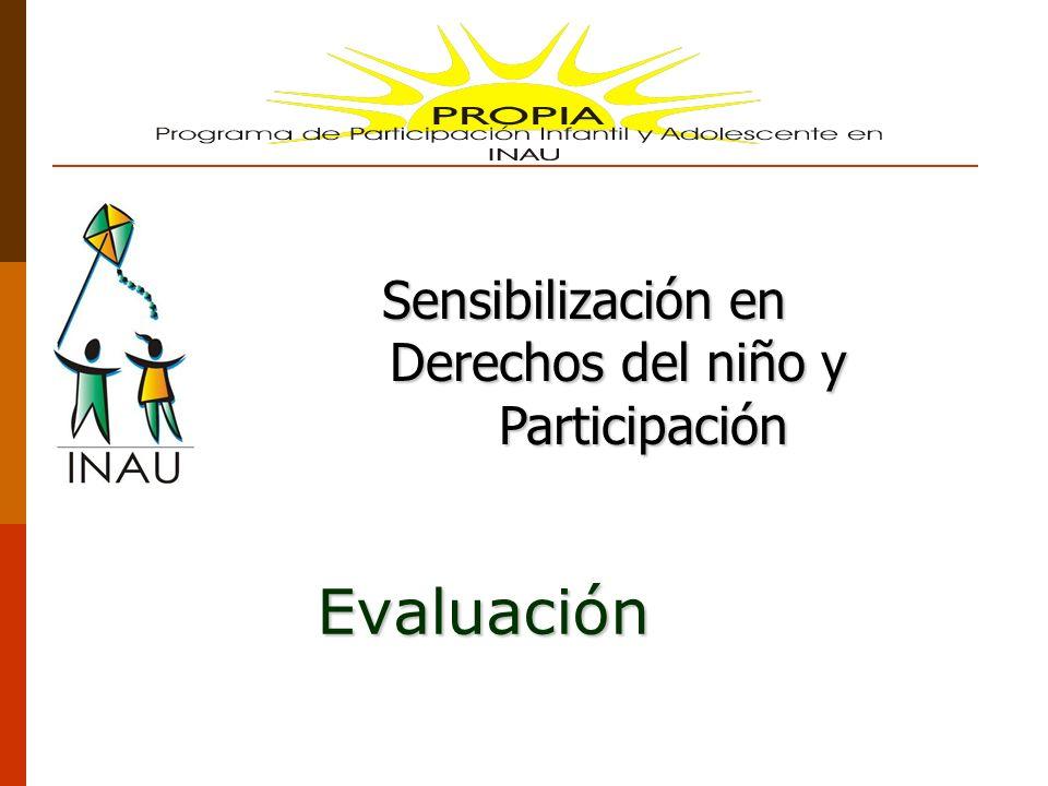 Evaluación Sensibilización en Sensibilización en Derechos del niño y Derechos del niño y Participación Participación