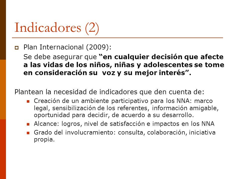 Indicadores (2) Plan Internacional (2009): Se debe asegurar que en cualquier decisión que afecte a las vidas de los niños, niñas y adolescentes se tom