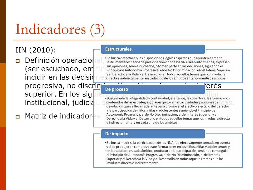 Indicadores (3) IIN (2010): Definición operacional, tomando en cuenta 4 dimensiones (ser escuchado, emitir opinión, ser tomado en cuenta, incidir en l