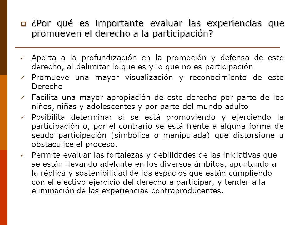 ¿Por qué es importante evaluar las experiencias que promueven el derecho a la participación? ¿Por qué es importante evaluar las experiencias que promu