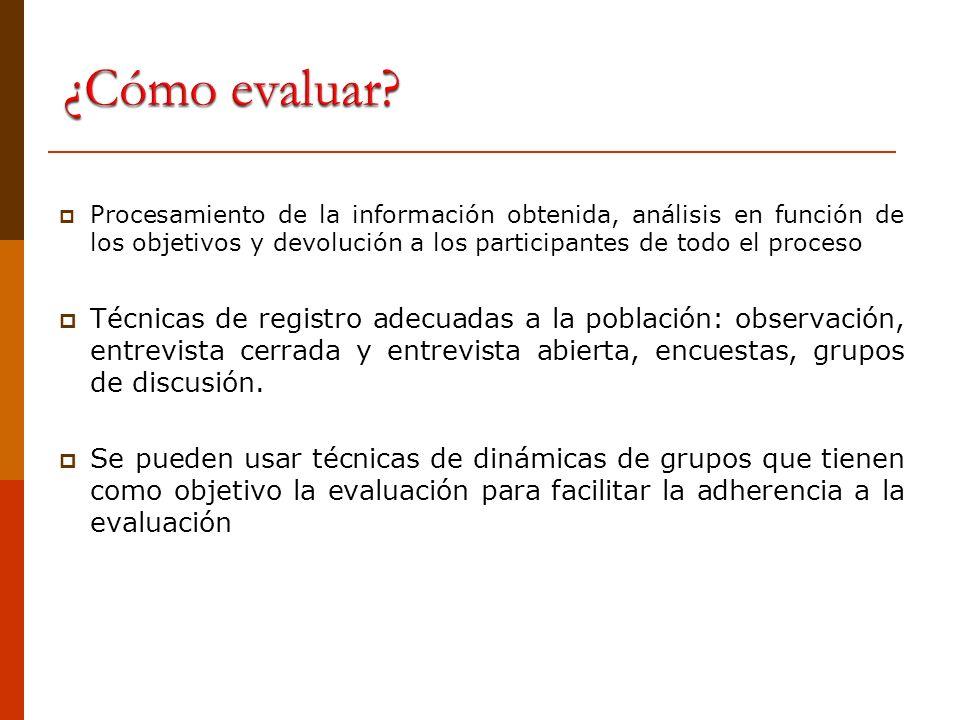 ¿Qué se debe evaluar de un taller de promoción del derecho a la participación.