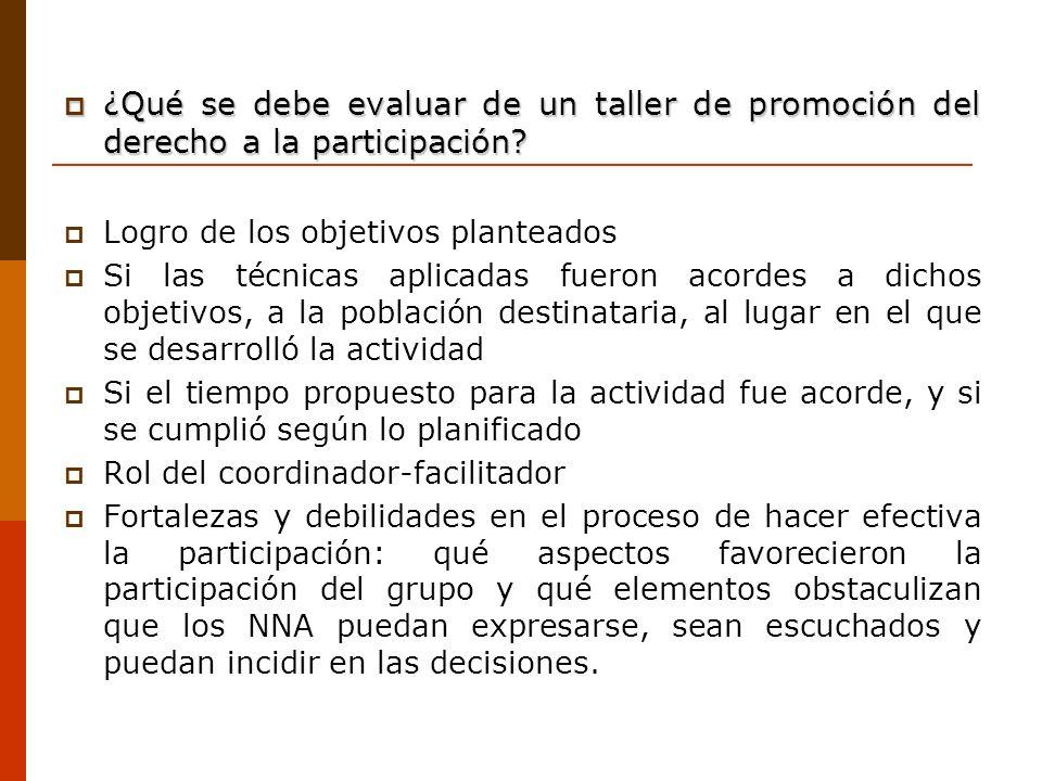 ¿Qué se debe evaluar de un taller de promoción del derecho a la participación? ¿Qué se debe evaluar de un taller de promoción del derecho a la partici