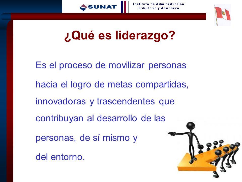 3 Es el proceso de movilizar personas hacia el logro de metas compartidas, innovadoras y trascendentes que contribuyan al desarrollo de las personas,