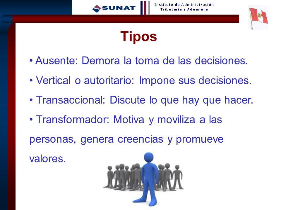 7 Tipos Ausente: Demora la toma de las decisiones. Vertical o autoritario: Impone sus decisiones. Transaccional: Discute lo que hay que hacer. Transfo