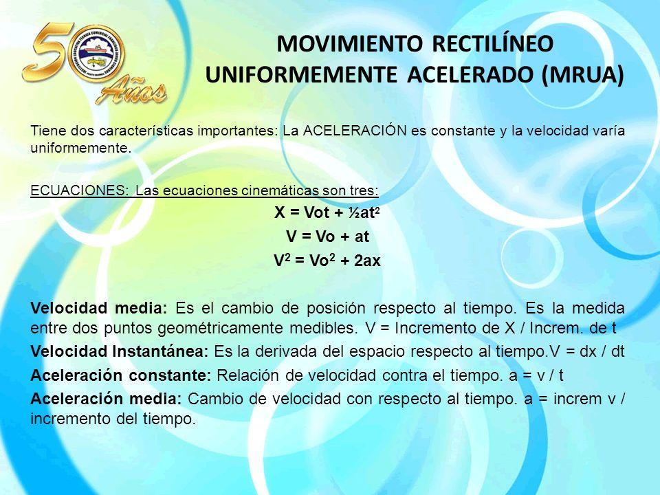 MOVIMIENTO RECTILÍNEO UNIFORMEMENTE ACELERADO (MRUA) Tiene dos características importantes: La ACELERACIÓN es constante y la velocidad varía uniformemente.