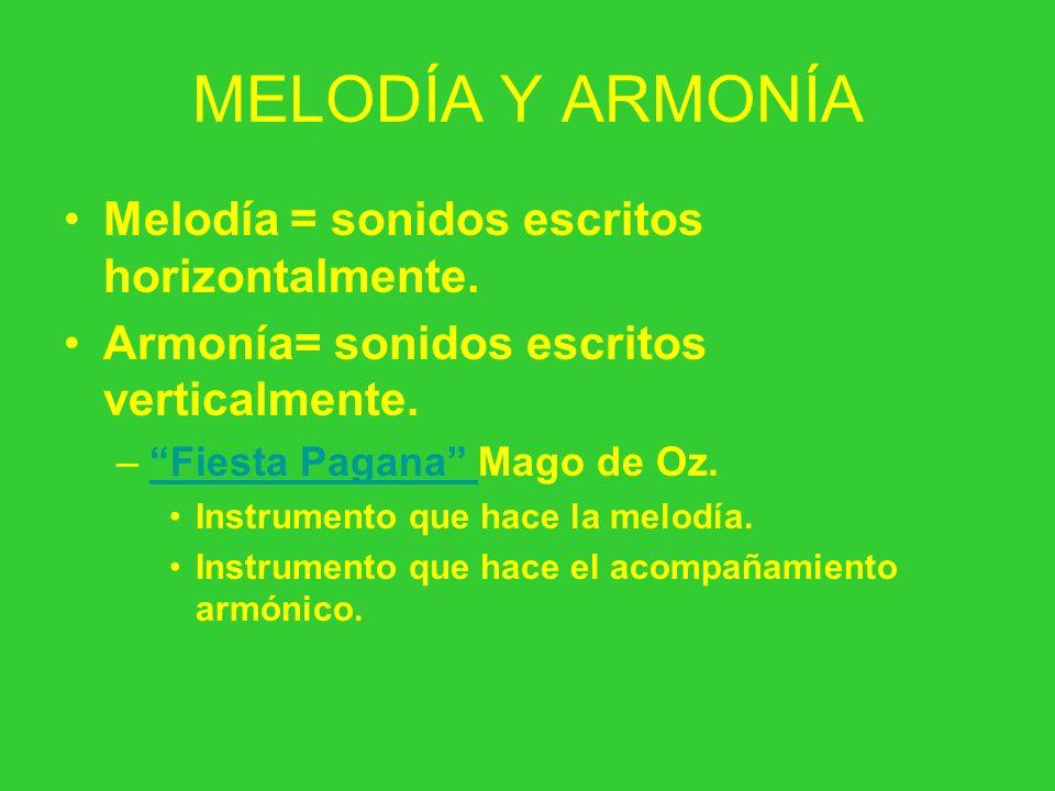 MELODÍA Y ARMONÍA Melodía = sonidos escritos horizontalmente. Armonía= sonidos escritos verticalmente. –Fiesta Pagana Mago de Oz.Fiesta Pagana Instrum