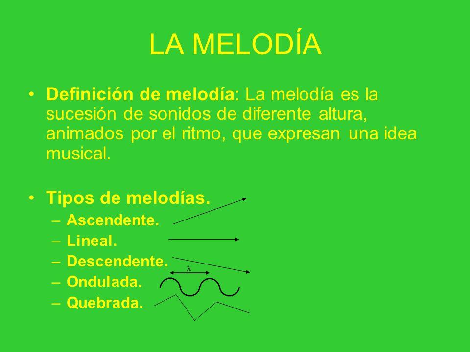 LA MELODÍA Definición de melodía: La melodía es la sucesión de sonidos de diferente altura, animados por el ritmo, que expresan una idea musical. Tipo