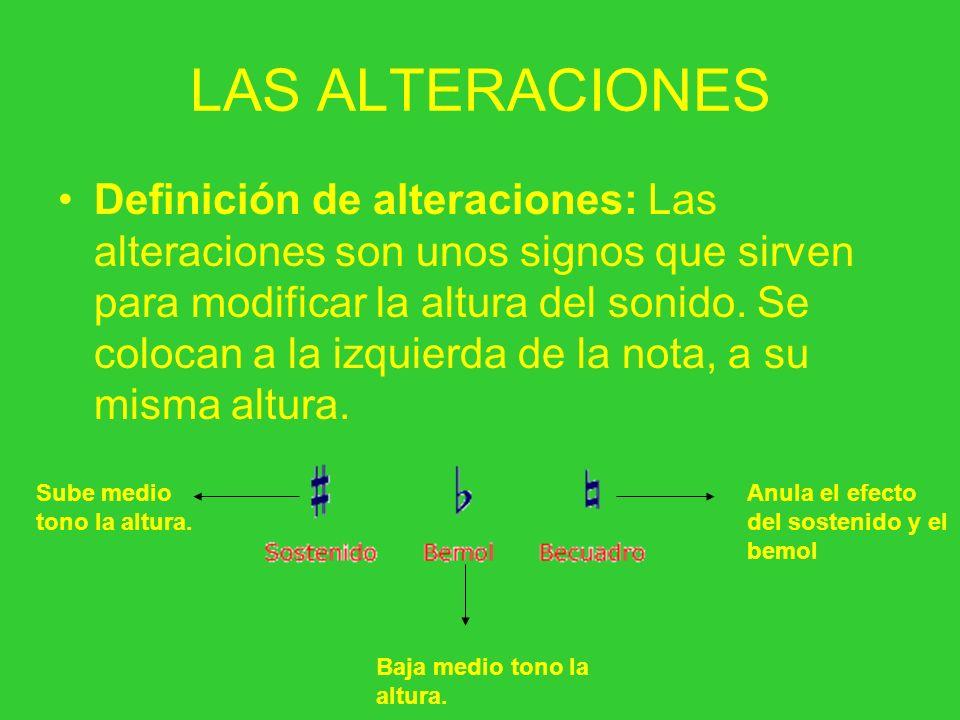 LAS ALTERACIONES Definición de alteraciones: Las alteraciones son unos signos que sirven para modificar la altura del sonido. Se colocan a la izquierd