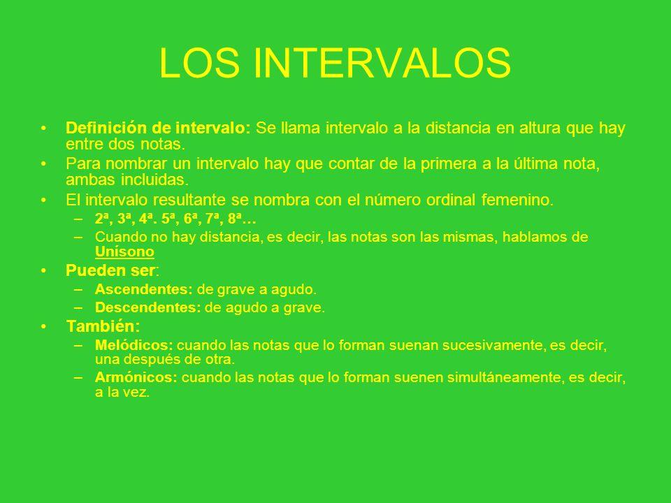 LOS INTERVALOS Definición de intervalo: Se llama intervalo a la distancia en altura que hay entre dos notas. Para nombrar un intervalo hay que contar