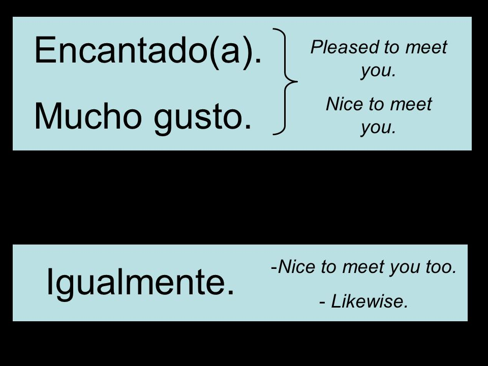 Encantado(a). Mucho gusto. Pleased to meet you. Nice to meet you.