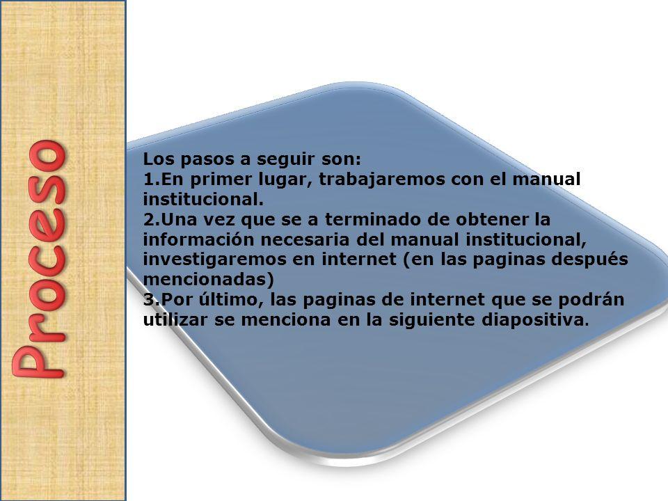 Los pasos a seguir son: 1.En primer lugar, trabajaremos con el manual institucional. 2.Una vez que se a terminado de obtener la información necesaria