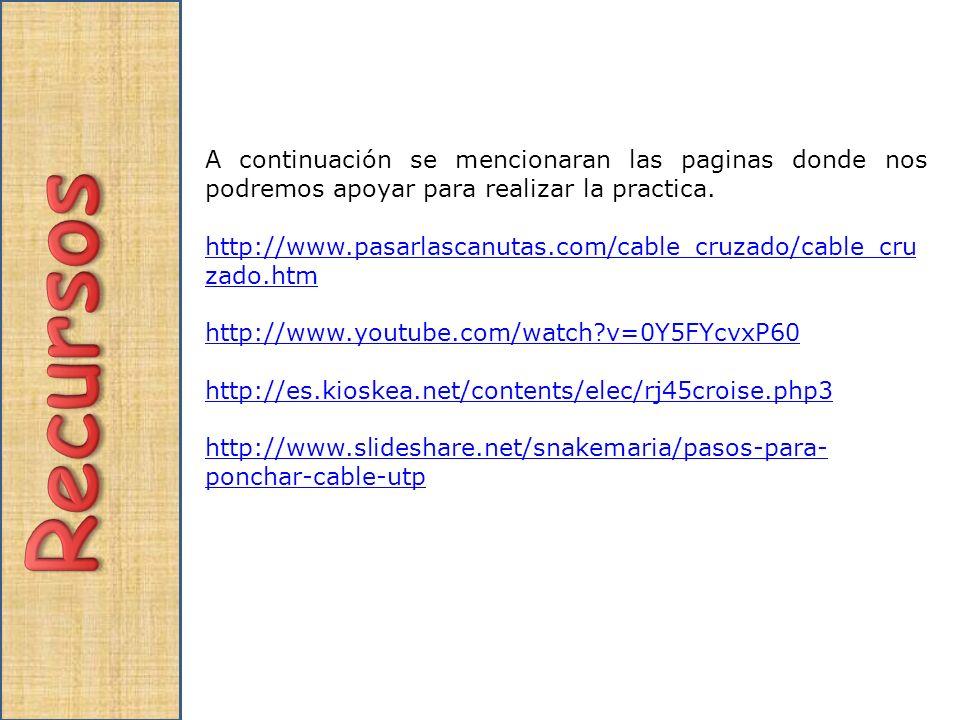 A continuación se mencionaran las paginas donde nos podremos apoyar para realizar la practica. http://www.pasarlascanutas.com/cable_cruzado/cable_cru