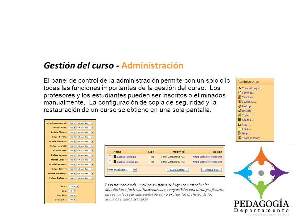 Gestión del curso - Administración El panel de control de la administración permite con un solo clic todas las funciones importantes de la gestión del