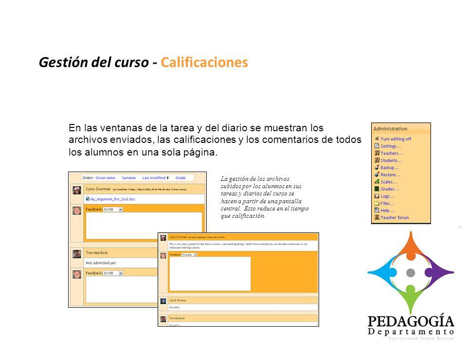 Gestión del curso - Calificaciones En las ventanas de la tarea y del diario se muestran los archivos enviados, las calificaciones y los comentarios de