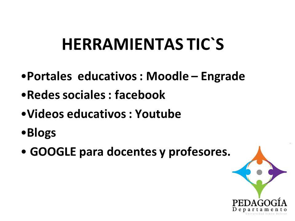 HERRAMIENTAS TIC`S Portales educativos : Moodle – Engrade Redes sociales : facebook Videos educativos : Youtube Blogs GOOGLE para docentes y profesore