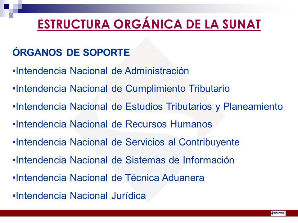 ÓRGANOS DE SOPORTE Intendencia Nacional de Administración Intendencia Nacional de Cumplimiento Tributario Intendencia Nacional de Estudios Tributarios