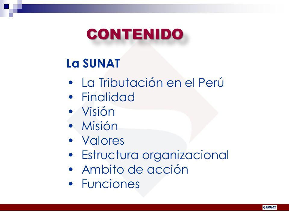 CONTENIDOCONTENIDO La SUNAT La Tributación en el Perú Finalidad Visión Misión Valores Estructura organizacional Ambito de acción Funciones