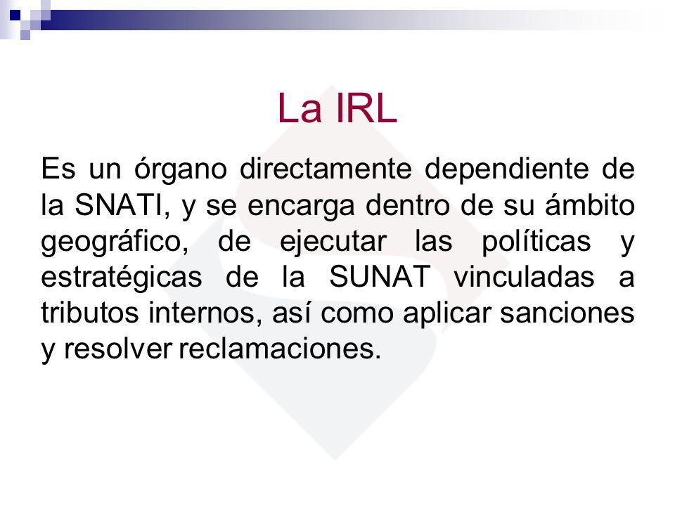 La IRL Es un órgano directamente dependiente de la SNATI, y se encarga dentro de su ámbito geográfico, de ejecutar las políticas y estratégicas de la