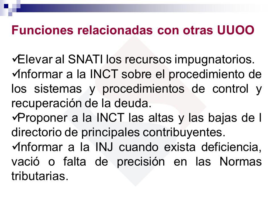 Funciones relacionadas con otras UUOO Elevar al SNATI los recursos impugnatorios. Informar a la INCT sobre el procedimiento de los sistemas y procedim