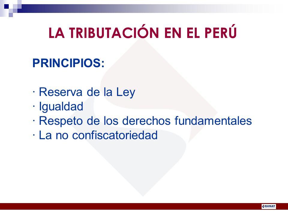 PRINCIPIOS: · Reserva de la Ley · Igualdad · Respeto de los derechos fundamentales · La no confiscatoriedad LA TRIBUTACIÓN EN EL PERÚ