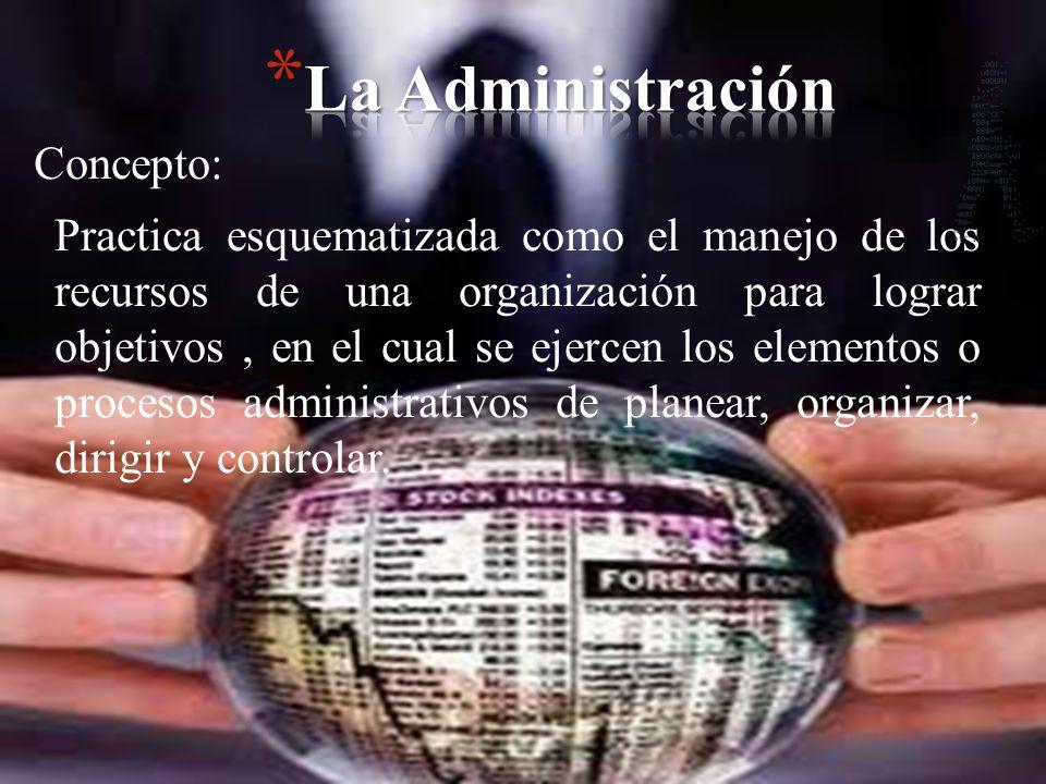 Concepto: Practica esquematizada como el manejo de los recursos de una organización para lograr objetivos, en el cual se ejercen los elementos o proce