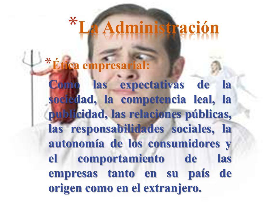 * Ética empresarial: Como las expectativas de la sociedad, la competencia leal, la publicidad, las relaciones públicas, las responsabilidades sociales