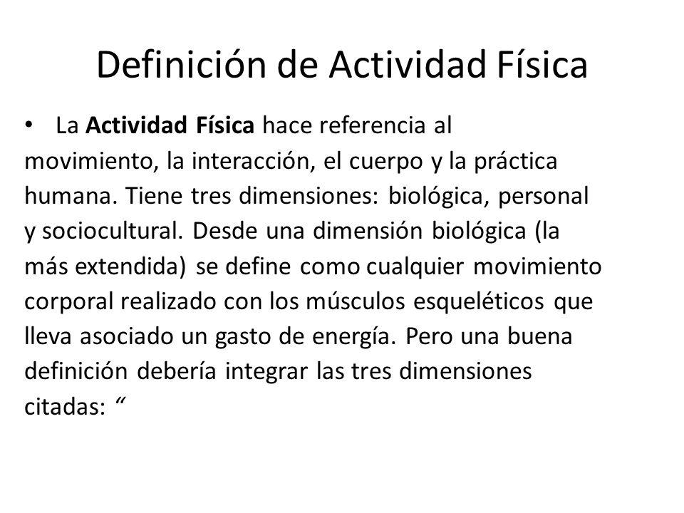 Definición de Actividad Física La Actividad Física hace referencia al movimiento, la interacción, el cuerpo y la práctica humana. Tiene tres dimension