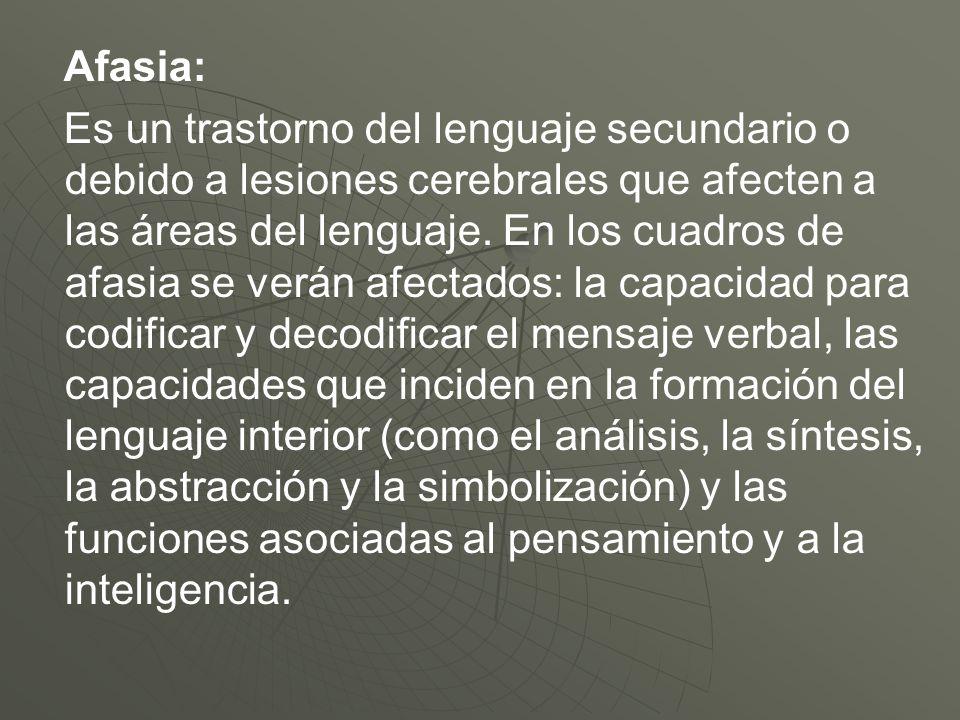 Afasia: Es un trastorno del lenguaje secundario o debido a lesiones cerebrales que afecten a las áreas del lenguaje. En los cuadros de afasia se verán