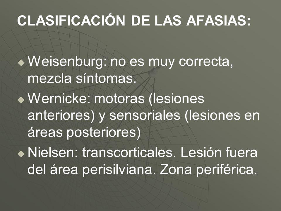 CLASIFICACIÓN DE LAS AFASIAS: Weisenburg: no es muy correcta, mezcla síntomas. Wernicke: motoras (lesiones anteriores) y sensoriales (lesiones en área