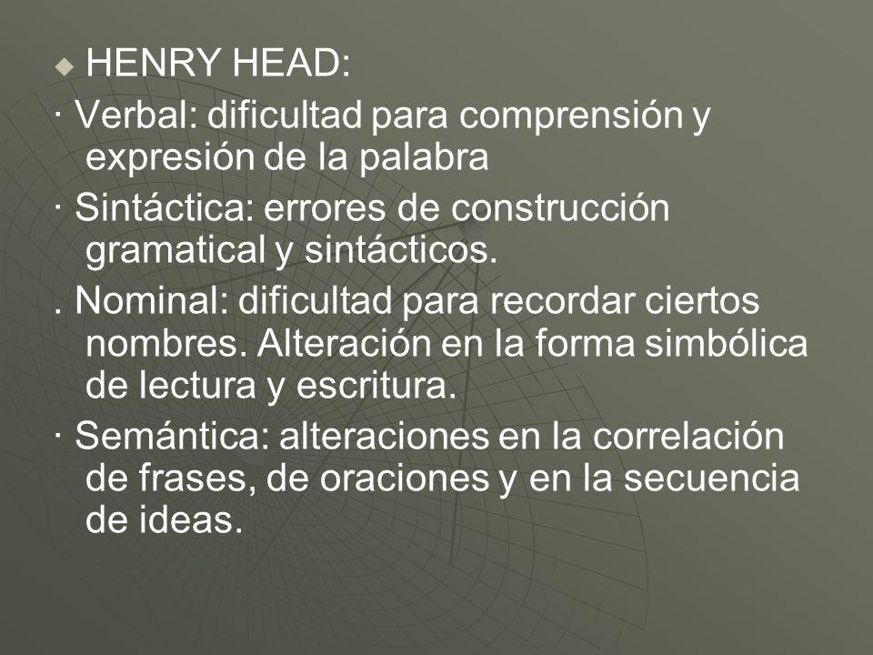 HENRY HEAD: · Verbal: dificultad para comprensión y expresión de la palabra · Sintáctica: errores de construcción gramatical y sintácticos.. Nominal: